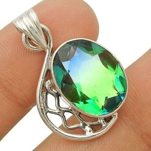Jewelry - 8CT Tourmaline .925 Silver Pendant and Chain
